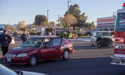 A family of three were injured in a crash Friday. (Gabriel D. Espinoza, Victor Valley News. )