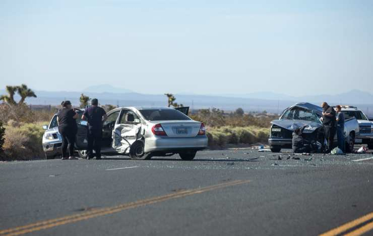 3 people were taken to local hospitals and a fourth was airlifted to a trauma center after a crash on highway 395 in Victorville. (Hugo C. Valdez, Victor Valley News)