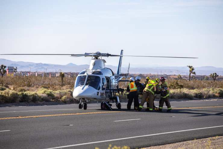 A Mercy Air pilot landed the helicopter on US Highway 395. (Hugo C. Valdez, Victor Valley News)