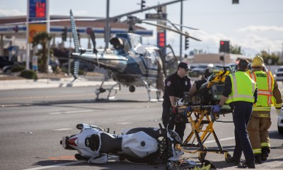 A CHP helicopter landed on Palmdale Road to airlift the rider. (Gabriel D. Espinoza, Victor Valley News)