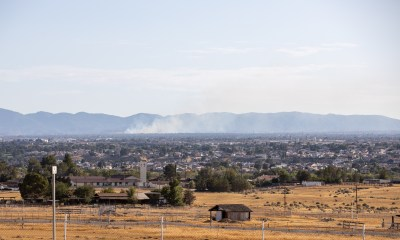View from Apple Valley Road of the fire burning near the Hesperia airport. (Hugo C. Valdez, Victor Valley News)