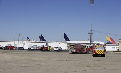 Firefighters staging at the command post. (Gabriel D. Espinoza, Victor Valley News Group)
