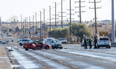 A fatal crash shut down a stretch of Bear Valley Road Friday morning. (Gabriel D. Espinoza, Victor Valley News.)