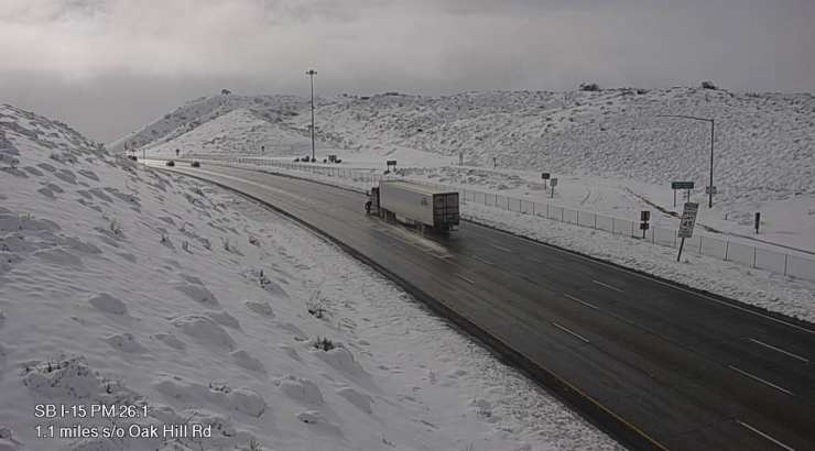 The beauty of the cajon pass after a heavy snowfall caused motorists to become stranded for several hours.
