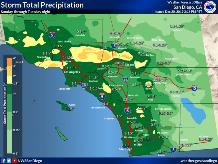 Here are the preliminary storm totals for late Sunday through late Tuesday. Expect 1-1.5 inches of rain at the coast and valleys with locally up to 2 inches in the mountains. (NWS Facebook)