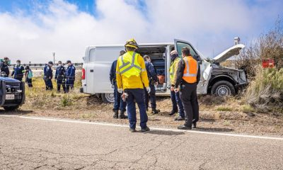 A van went off the freeway and crashed off Mariposa Road in Hesperia. (Gabriel D. Espinoza, Victor Valley News)