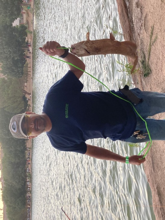 Eric Hernandez from Hesperia reeled in a nice looking 6lb catfish at the North Shore using mackerel.