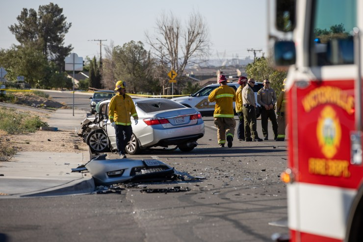 Victorville City Fire responded to the incident and pronounced the driver of the Honda deceased at the scene. (Hugo C. Valdez, VVNG.com)