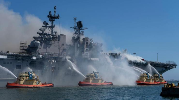 Port of San Diego Harbor Police Department boats combat a fire onboard USS Bonhomme Richard (LHD 6) at Naval Base San Diego, July 12.
