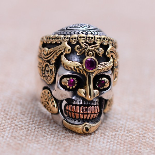 Men's Sterling Silver Alundum Skull Ring