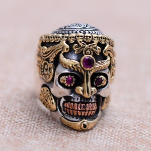 Men's Sterling Silver Alundum Skull Ring