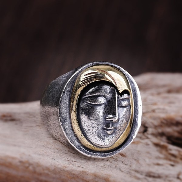 990 Sterling Silver Face Wrap Ring