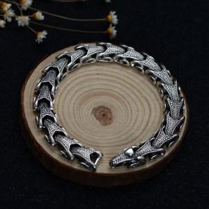 Men's Sterling Silver Sheep Head Beaded Bracelet