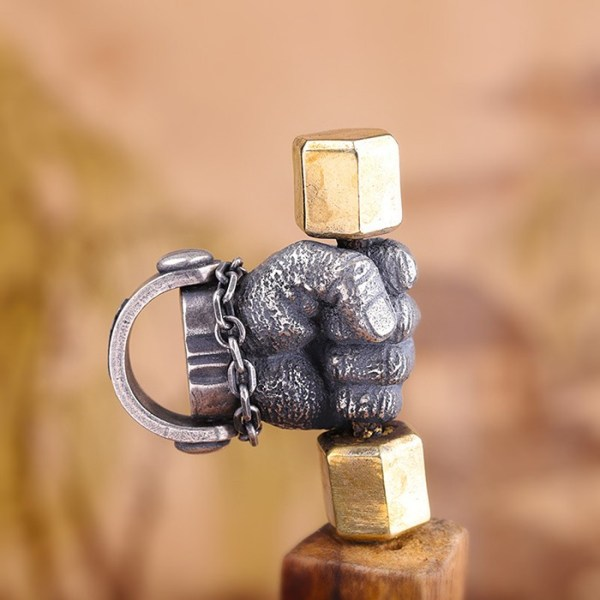 Men's Sterling Silver Weightlifting Fist Pendant Necklace
