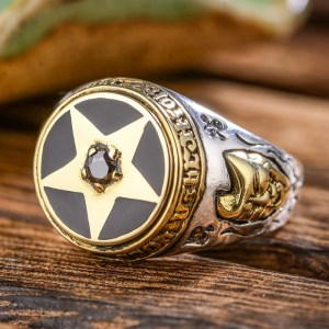 Men's Sterling Silver Large Pentagram Agate Ring