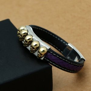 Black Leather Bracelet With Silver Skulls