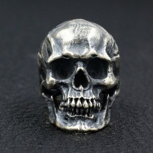 Sterling Silver Big Tough Men Biker Skull Ring