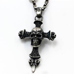 Sterling Silver Skull Cross Pendant Necklace