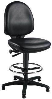 105217 Werkplaatsstoel,  zitting kunstleer zwart