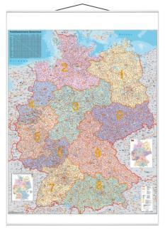 521857 Postcodekaart Duitsland,  HxB 1370x970mm