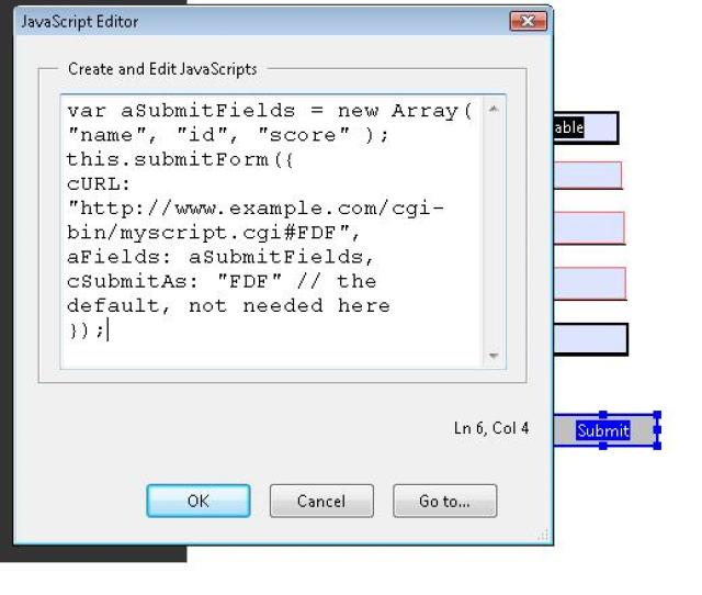 The Javascript Added To The Action Tab Of The Button Properties Dialog