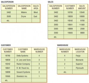 The complete database consists of four 1NF relations called SALESPERSON, SALES, CUSTOMER, and WAREHOUSE.