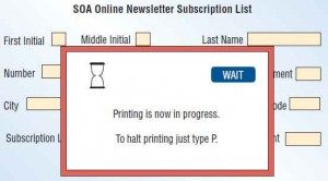 Feedback tells the user that there will be a delay during printing.