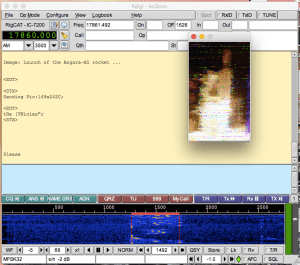 Image of a rocket firing from the VOA Radiogram, decoded by FLDigi.