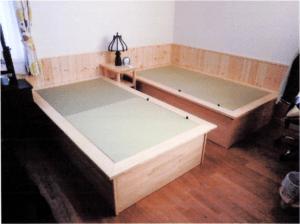 DIYで製作した木製ベッドに畳をサイズオーダー【お客様事例】 清流(和紙表)910mm×910mm×25mm  2枚