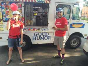 Bike Ambassadors flag down an ice cream truck after a long ride.