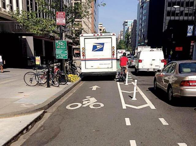 Blocked bike lane by USPS