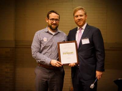 DDOT Director Leif Dormsjo accepts The Vision Zero award.