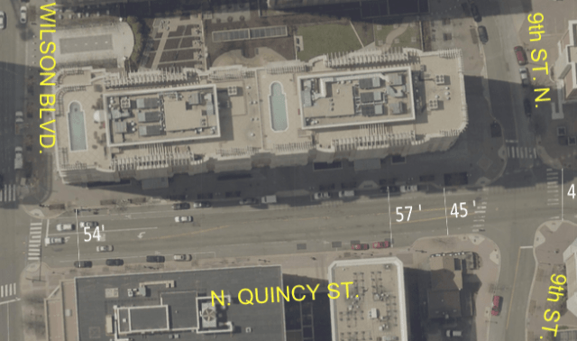 Dimensions for on block of Quincy St. from Wilson to 9th N