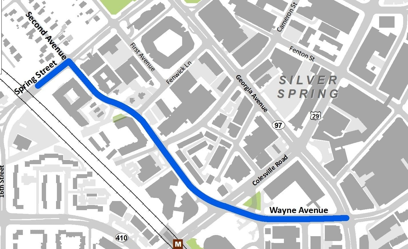More Detail on Silver Springs Second Wayne Avenue Bike Lanes