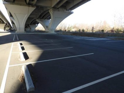 The parking lot under the Wilson Bridge at Jones Point Park, before we started work.