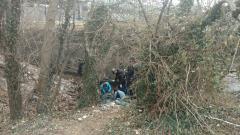 A team of volunteers hard at work uncovering debris.