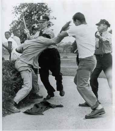 Violence at the 1949 Anacostia Pool. Credit: Unknown photographer, Flickr: Washington Area Spark