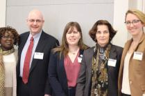 "Moderated by Mary Lauran Hall (right), the ""Ensuring Equitable Outcomes"" panel featured (from left to right) Susie McFadden-Resper, Mike Doyle, Liz Thorstensen and Councilmember Mary Cheh as panelists."