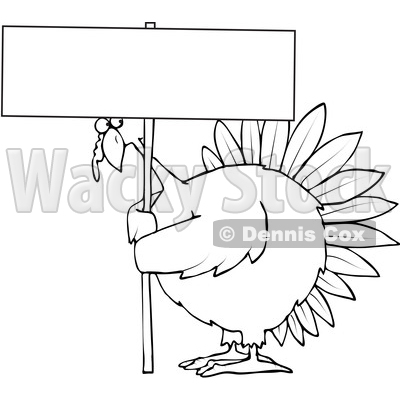 Clipart Of A Cartoon Black And White Chubby Thanksgiving