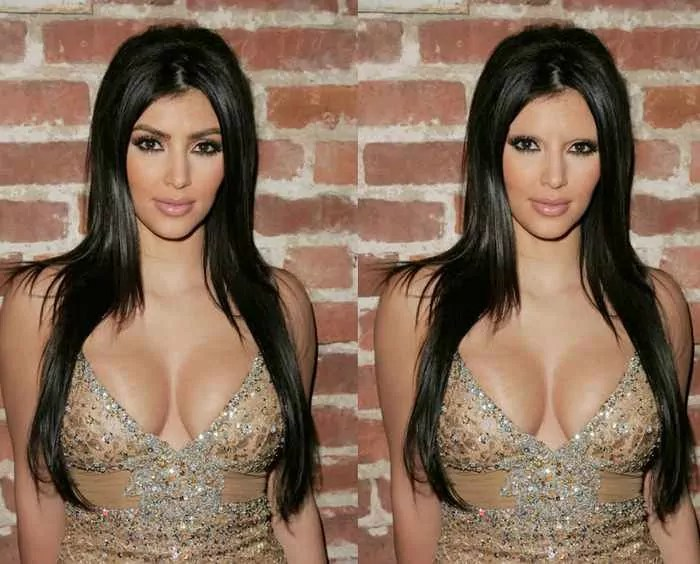 18 Celebrities With And Without Eyebrows - Kim Kardashian