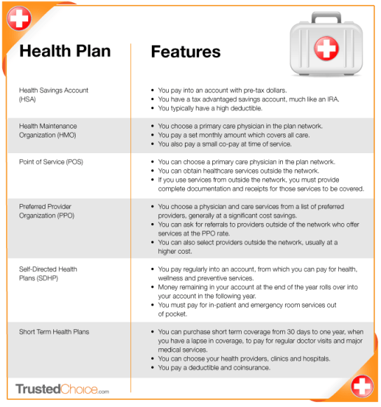 Health Insurance Plans and Terms infographic