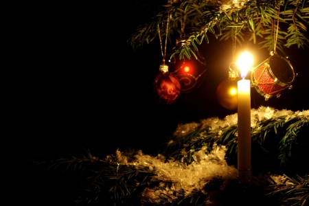 Holiday candle and tree decorations