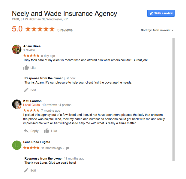 Google reviews by customers of Neely and Wade Insurance, Winchester and Lexington KY.