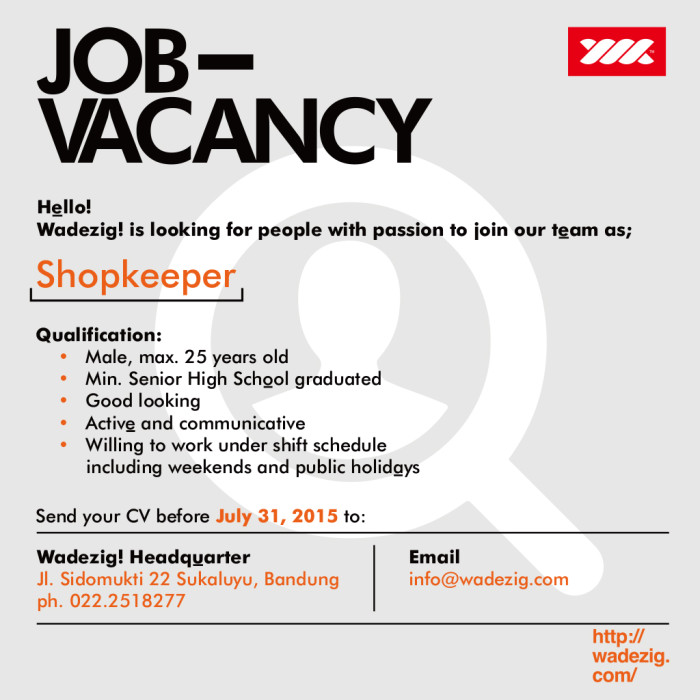 job vacancy  shopkeeper
