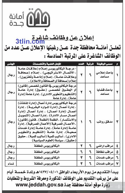 وظائف للجنسين بالمرتبة السادسة في أمانة جدة