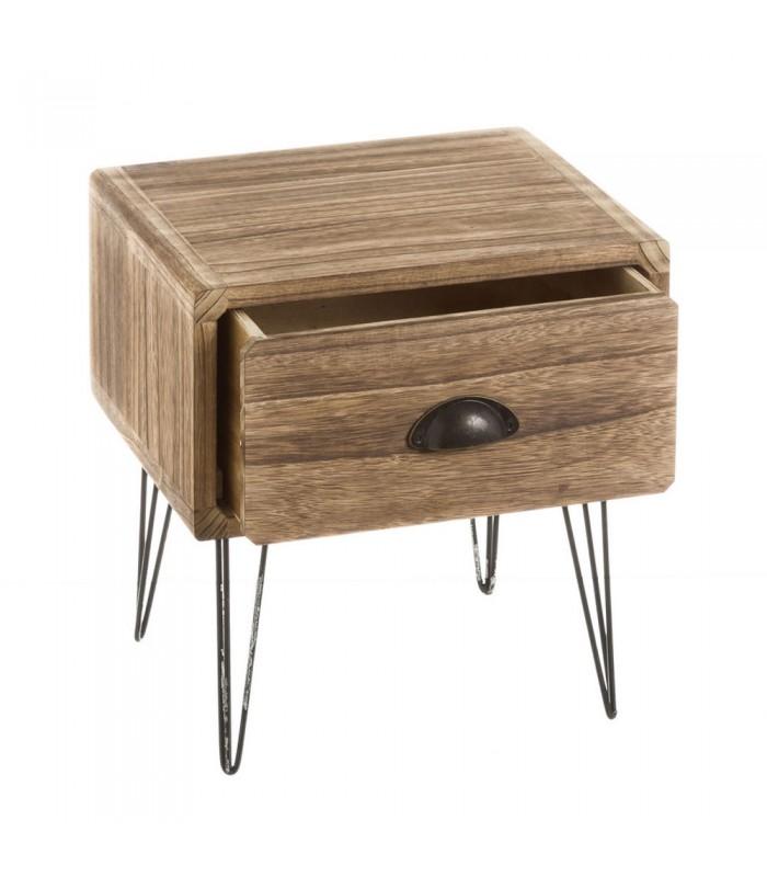 table de chevet en bois de paulownia et pieds metal blanc