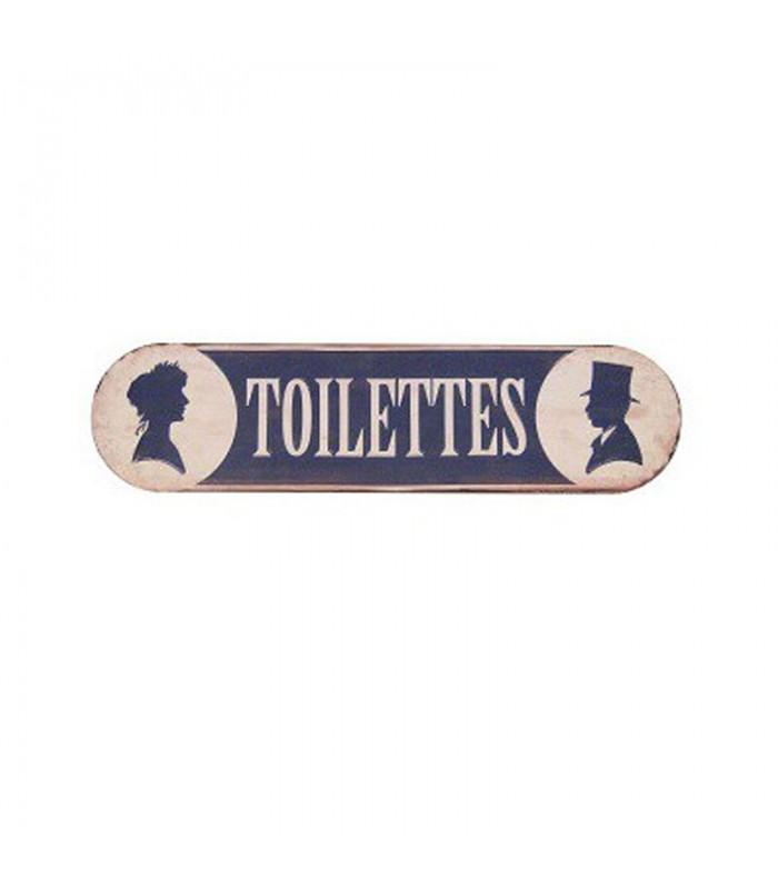 plaque signaletique toilettes vintage bleu et blanc longueur 50 5cm