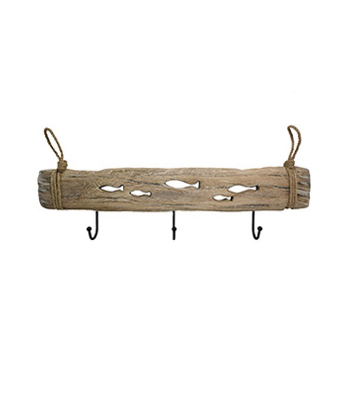 Wall Coat Rack Wood Fishes 3 Hooks