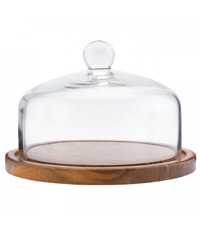 plateau a fromage ou a dessert en bois avec cloche en verre