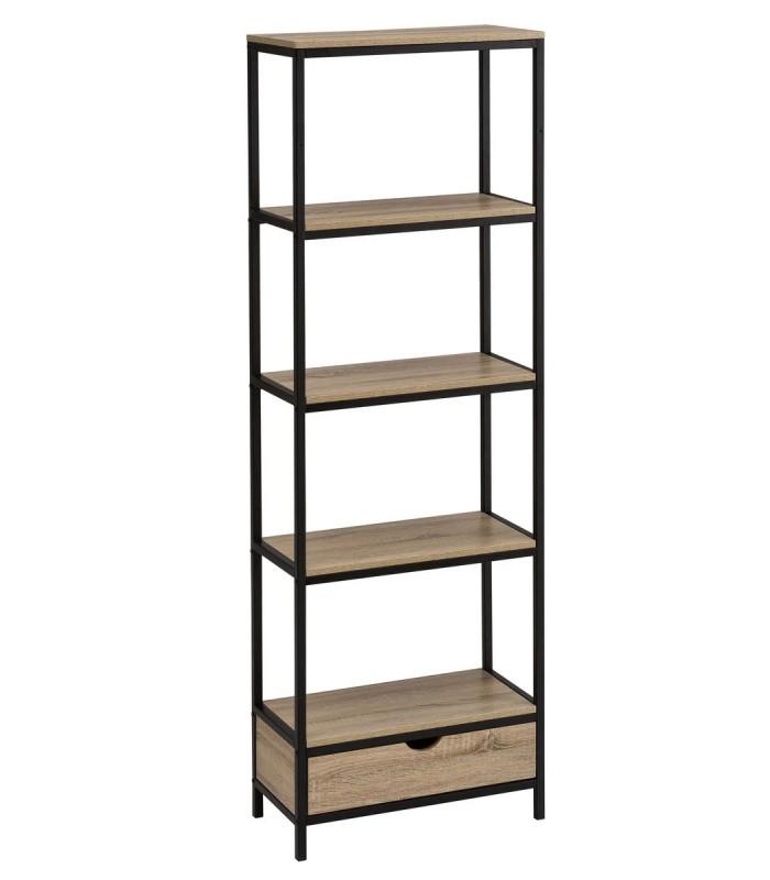 noir et bois 1 tiroir hauteur 180cm